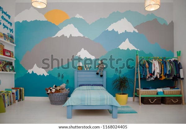 Spacious Boy Bedroom Beautiful Turquoise Grey Stock Photo ...