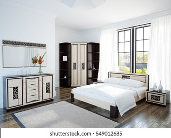 Spacious and bright bedroom with large window and wooden furniture. 3d illustration