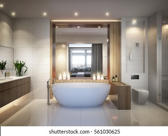 Spacious and bright modern bathroom with white tile, large mirror,  bathtub and shower cabin. 3d rendering