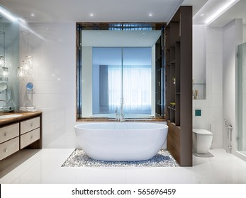 Spacious and bright modern bathroom with white tile, large mirror,  bathtub with pebbles on the floor and shower cabin. 3d rendering