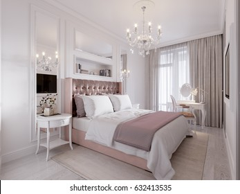 Spacious and Bright Modern Contemporary Classic Bedroom Interior Design with Large Window, White walls, Mirror Panels and White Elegant Furniture. 3d illustration