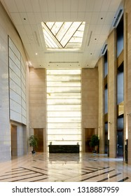 Spacious and bright office lobby interior