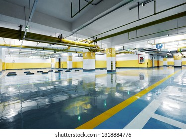 Spacious and bright parking lot interior