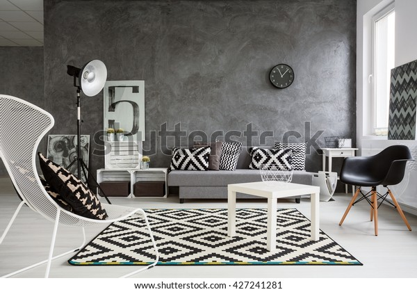 Spacious Classic Living Room Black White Stockfoto (Jetzt ...