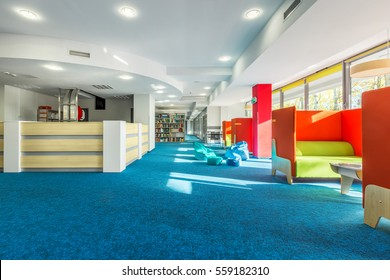 Spacious College Library Interior With Individual Study Space