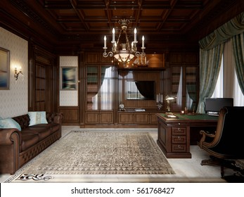 Spacious dark wood home office in classical style with large library and sofa. 3d render