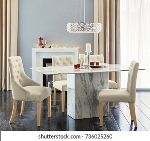 Spacious dining room. Interior of dining room