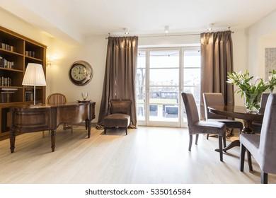 Spacious elegant study with big window, piano and mahogany furnitures