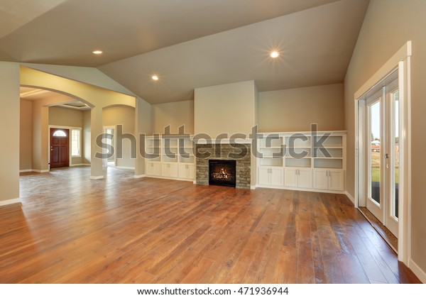 Spacious Empty Living Room Interior Vaulted Stock Photo Edit Now