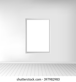 A spacious empty white room with a picture on the wall. Monochrome interior. In use for your design project. Graphic illustration