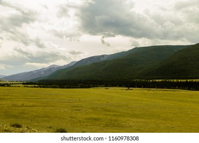 Spacious field with a view of the mountains
