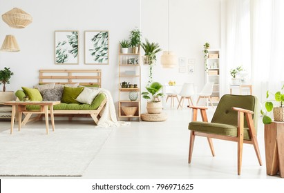 Spacious flat interior with green armchair and sofa in the living room and dining room in the background