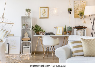 Spacious gold apartment for young woman