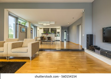 Spacious grey living room combined with open dining room