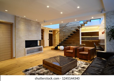 Spacious interior of living room