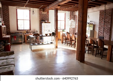 Spacious kitchen dining room in a loft apartment home