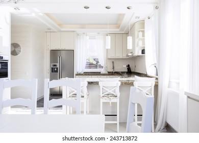 Spacious kitchen in the new house, horizontal