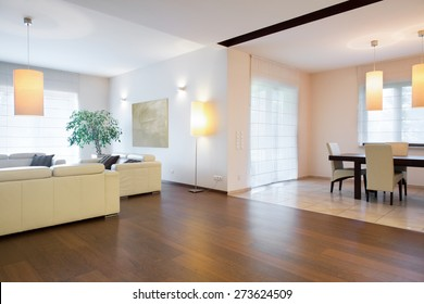 Spacious living room connected with dining hall