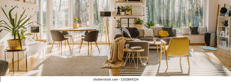 Spacious living room interior with a corner sofa and armchair next to a dining table with chairs standing by the window