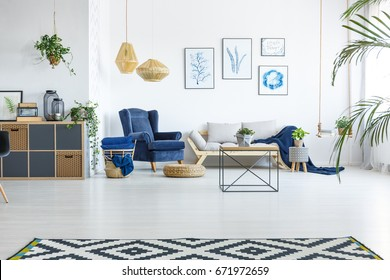 Spacious living room with sofa, armchair and posters