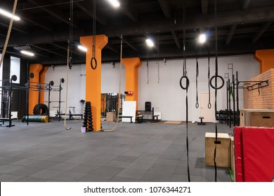 Spacious modern interior of the gym for fitness training