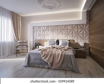 Spacious modern master bedroom with leather wall panels. 3d render