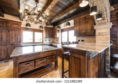 Spacious retro designed wooden kitchen