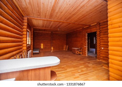 spacious room with wooden house