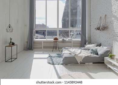 spacious stylish white loft apartment full of sun light with bungalow for children