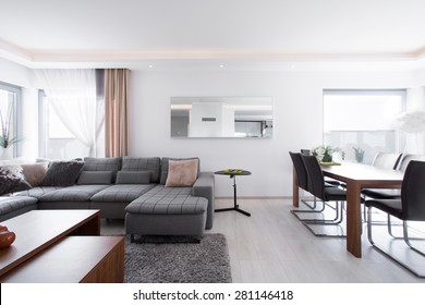 Spacious up-to-date living room with big wooden dining table