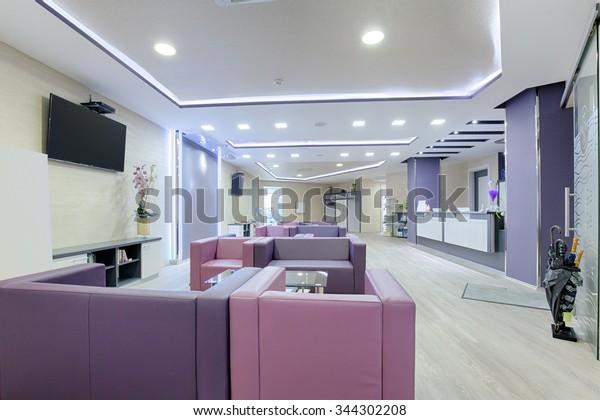 Spacious waiting room in a modern clinic