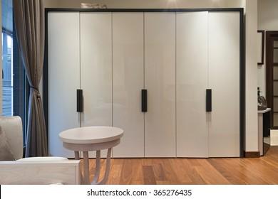 Spacious wardrobe interior