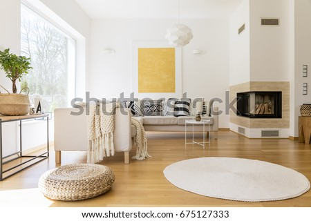Spacious White Wooden Living Room Modern Stockfoto Jetzt Bearbeiten Cool Wooden Living Room