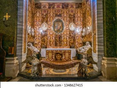 Spada Chapel by Francesco Borromini in the Church of San Girolamo della Carità in Rome, Italy. March-24-2019