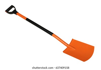 Spade shovels with handle isolated on white background