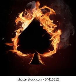 Spades Card in Fire.