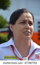 SPA-FRANCORCHAMPS, BELGIUM - AUGUST 26: Sauber F1 team principal Monisha Kaltenborn during the Belgian Formula 1 Grand Prix at Spa-Francorchamps on August 26, 2016 in Spa-Francorchamps, Belgium.