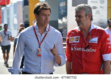 SPA-FRANCORCHAMPS, BELGIUM - AUGUST 26: Toto Wolff and Maurizio Arrivabene  during the Belgian Formula 1 Grand Prix at Spa-Francorchamps on August 26, 2016 in Spa-Francorchamps, Belgium.