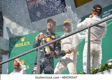 SPA-FRANCORCHAMPS, BELGIUM - AUGUST 28: Celebrations with champagne spraying on the podium after the Belgian Formula 1 Grand Prix at Spa-Francorchamps on August 28, 2016 in Spa-Francorchamps, Belgium.