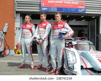 SPA-FRANCORCHAMPS, BELGIUM - MAY 2: Audi drivers Benoit Treluyer, Andre Lotterer and Marcel Fassler during round 2 of the FIA World Endurance Championship on May 2, 2013 in Spa-Francorchamps, Belgium.