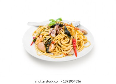spagetti seafood spicy isolated on white background