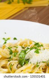 Spaghetti aglio e olio detail