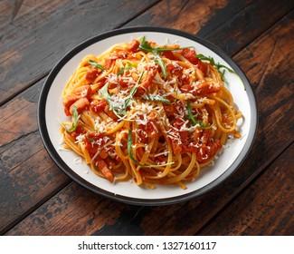 Spaghetti alla Amatriciana with pancetta bacon, tomatoes and pecorino cheese