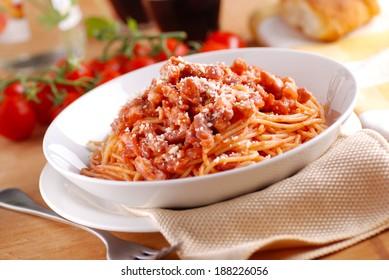 Spaghetti Amatriciana, traditional Italian recipe