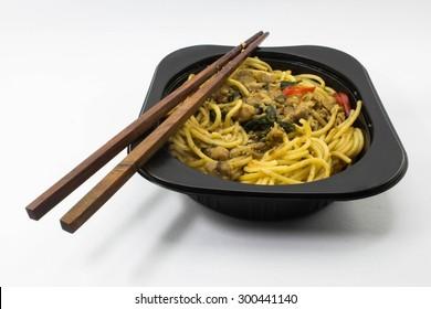 Spaghetti with basil.