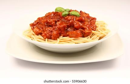 Spaghetti bolognese on a plate