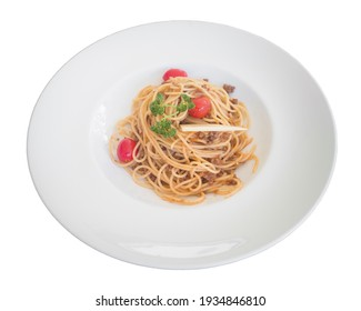 Spaghetti bolognese sauce with beef, cheese, tomatoes and spices on a white plate. Clipping path