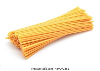 spaghetti bucatini pasta studio isolated