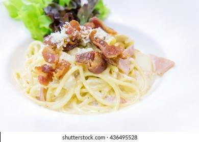 Spaghetti Carbonara with bacon and cheese in white plate. - Close up