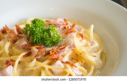 Spaghetti Carbonara with Bacon Ham Parsley and Mayonnaise Sauce. Spaghetti Carbonara with Bacon and Ham in mayonnaise cream sauce for food and drink category.  Spaghetti Carbonara with Bacon break